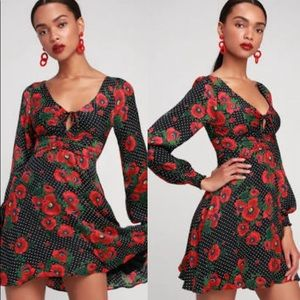 Morning Light Mini Dress, Rose Floral Print